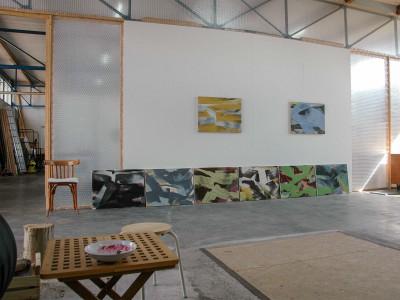 Een serie van 8 schilderijen tegen de wand in ACM+ te Dwingeloo